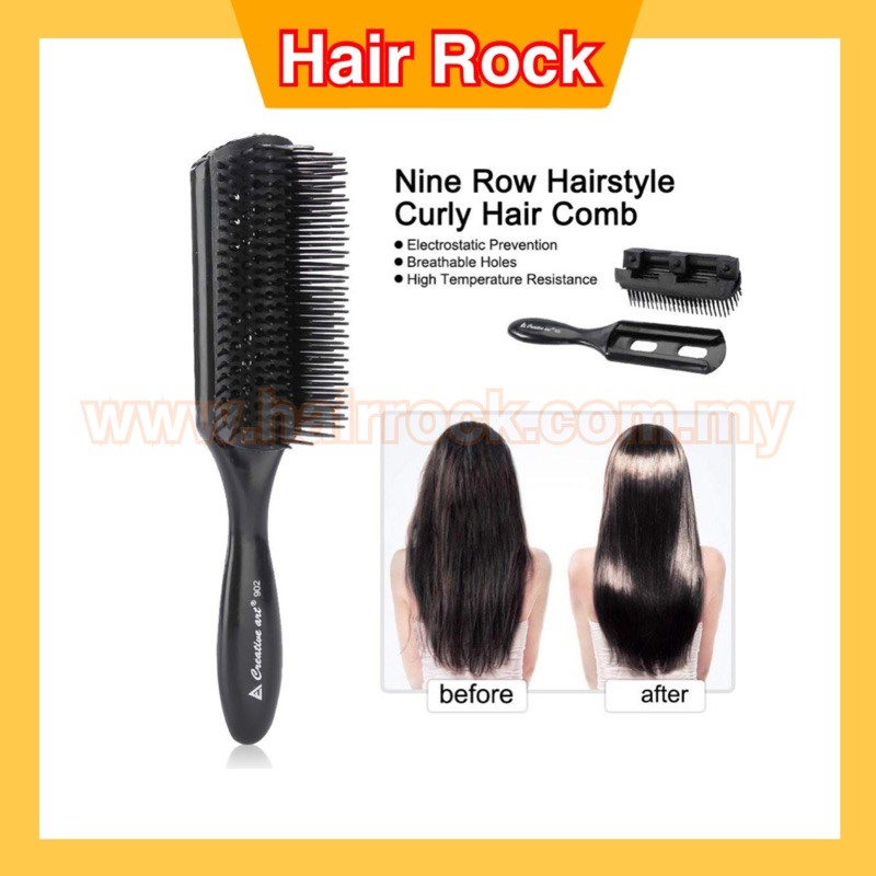 Professional Barber Salon Hairbrush Nine Row Curly Anti-static Hair Comb